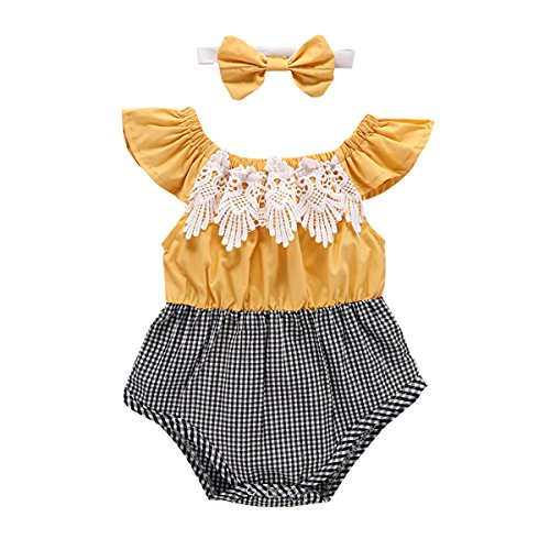 Baby Girl's Romper Ruffle Sleeve Lace Grid Ruffle Spliced Jumpsuit