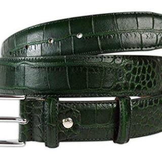 Pasquale Cutarelli Mens Crocodile Pattern Italian Leather Belt Green