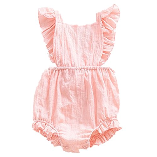 Infant Baby Girl Twins Bodysuit Sleeveless Ruffles Romper Sunsuit