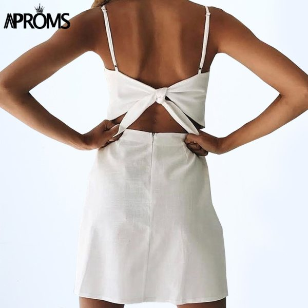 Aproms Back Tie Up Bow Summer Dress Women Sundresses