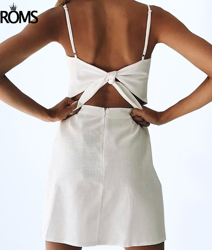 Aproms Back Tie Up Bow Summer Dress Women Sundresses