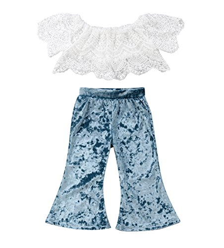 rechange Baby Girls Pants Set Off Shoulder Short Sleeve Lace Crop Top
