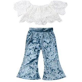 rechange Baby Girls Pants Set Off Shoulder Short Sleeve Lace Crop Top