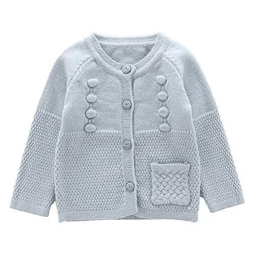 Moonnut Baby Girls Cardigan Sweaters Single Pocket Long Sleeve