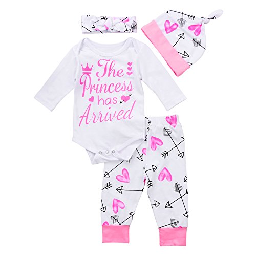 4 pcs Baby Girls Pants Set Newborn Infant Toddler Letter