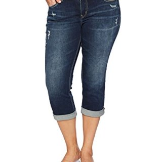 Silver Jeans Co. Women's Plus Size Suki Curvy Fit Mid Rise Capri