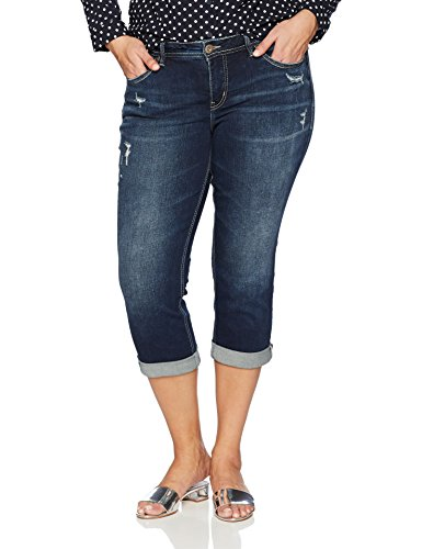 Silver Jeans Co. Women's Plus Size Suki Curvy Fit Mid Rise Capri