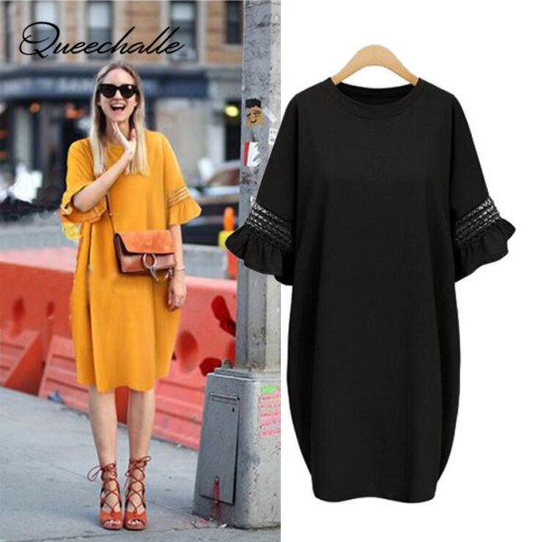 Queechalle Big Size Women Dress Summer Ruffles Sleeve Loose Dress