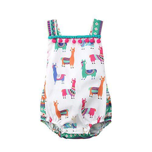 Lamuusaa Newborn Infant Toddler Baby Girls Colourful Alpaca Pattern Tank Tops