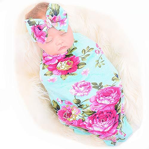 Newborn Receiving Blanket Headband Set Flower Print Baby