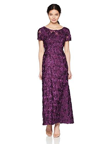 Alex Evenings Women's 6P Long A-Line Rosette Dress
