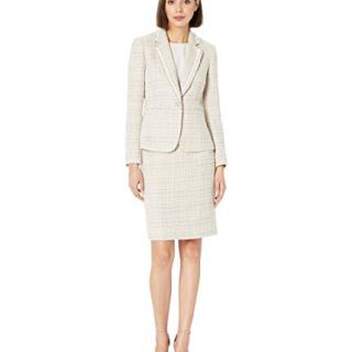 Tahari by ASL Women's Boucle with Frayed Trim Skirt Suit