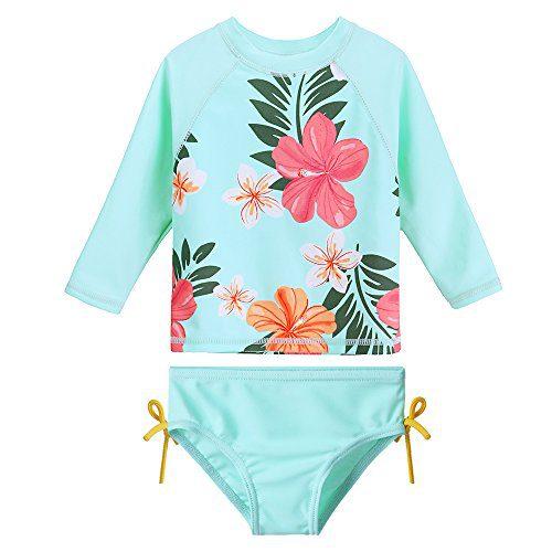 HUANQIUE Baby/Toddler Girls Swimsuit Rashguard Set