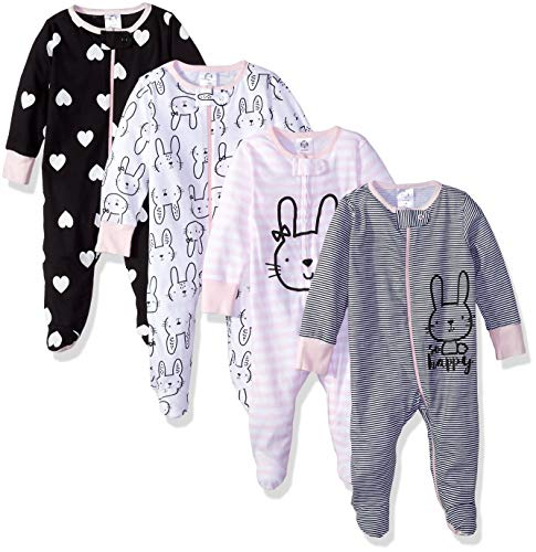 Gerber Baby Girls' 4-Pack Sleep 'N Play, Bunny, 3-6 Months