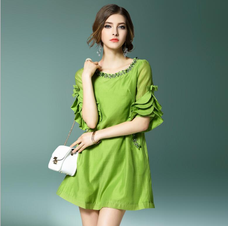 New Summer Dress Women Chiffon Cotton Green White dress
