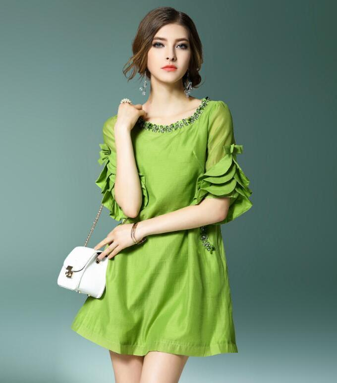 New Summer Dress Women Chiffon Cotton Green White dress