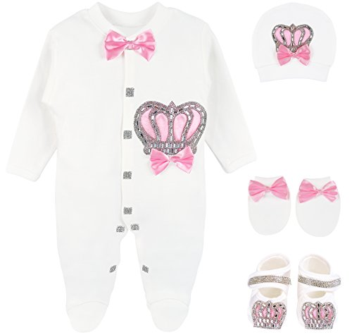 Lilax Baby Girl Newborn Crown Jewels Layette 4 Piece Gift Set