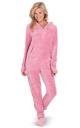 PajamaGram Womens Onesie with Hood - Adult Footie Pajamas
