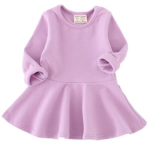Csbks Toddler Baby Girls Long Sleeve Cotton Dress Solid Ruffle Tops