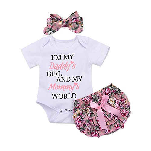 Catpapa 3PCS Newborn Baby Girl Romper Jumpsuit Bodysuit