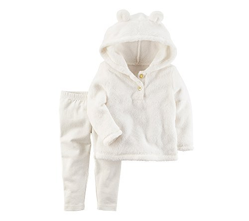 Carter's Baby Girls' 2 Piece Sherpa Hoodie & Leggings Set Ivory 9 Months