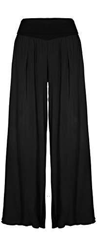 M Made in Italy - Women's Wide Leg Pants (Black, S)