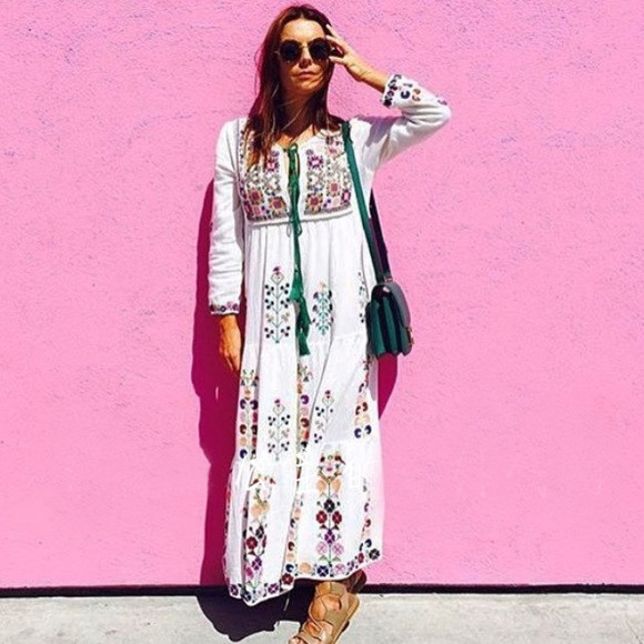 new embroidery bohemian cotton dress loose pattern leisure large