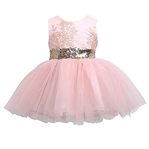 Newborn Toddler Baby Girls Sequins Bowknot Floral Princess Dresses