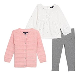Nautica Baby Girls' Three Piece Sweater, Top and Pant Set