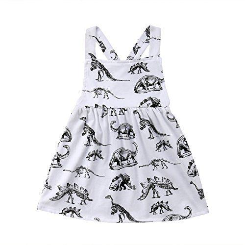 yannzi Baby Girls Dinosaur Dress Clothes Ruffle Sleeve Tutu Skirt
