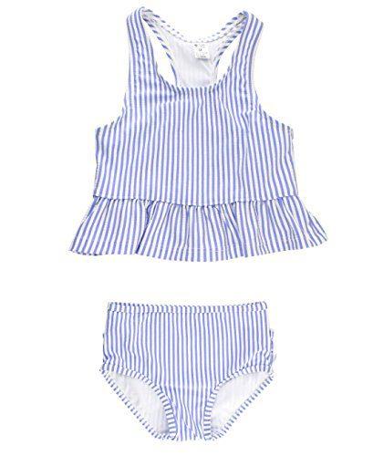 RuffleButts Baby/Toddler Girls Periwinkle Blue Seersucker Peplum Tankini