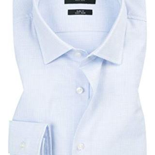 Hugo Boss Men's Textured Jenno Slim Fit Dress Shirt (17, Blue)