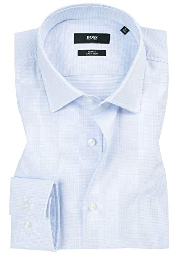 Hugo Boss Men's Textured Jenno Slim Fit Dress Shirt (17, Blue)