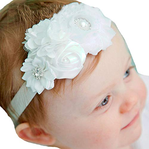 Lebo Baby Girl Baptism Headbands with Bows White