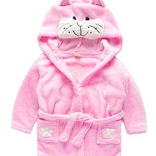 Toddler Kids Cartoon Hooded Plush Robe Animal Pajamas Fleece Bathrobe