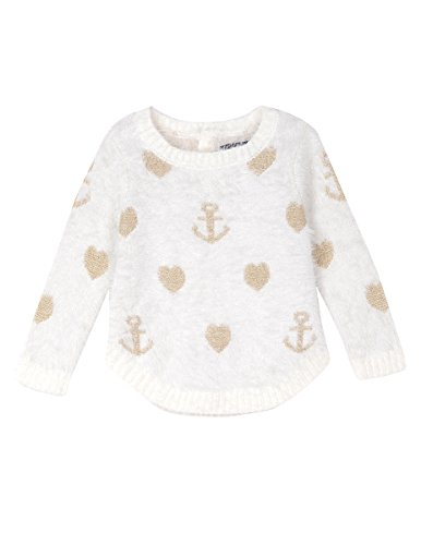 Nautica Baby Girls' Intarsia Sweater with Furry Yarns