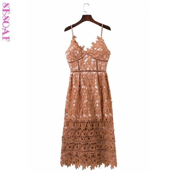 SESOAF Chic Padded Hollow Out lace Dress Lined Summer Dress