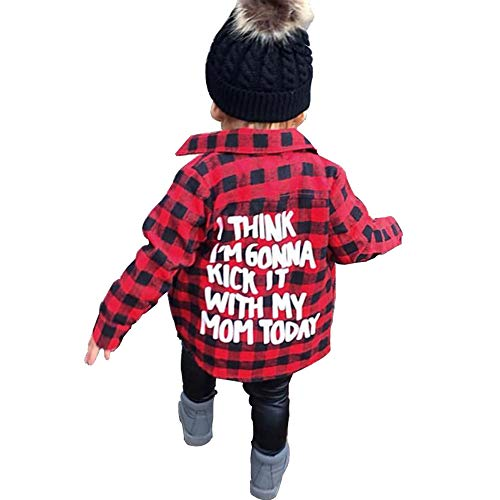 Toddler Kid Baby Boy Girl Plaid Tops Shirt Long Sleeve