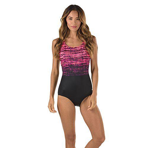 Speedo Women's Powerflex Eco Rhythmic Wave One Piece Swimsuit