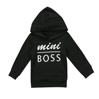 0-5T Baby Boy Girl Mini Boss Hoodie Tops Toddler Hooded Sweater
