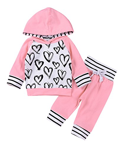 2Pcs Newborn Baby Girls Hand-painting Heart Tops Hoodies Pants Outfits Set