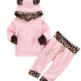 2Pcs Cute Newborn Baby Girls Pink Leopard Hoodie T-shirt Top