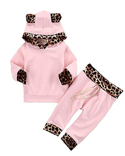2Pcs Cute Newborn Baby Girls Pink Leopard Hoodie T-shirt Top
