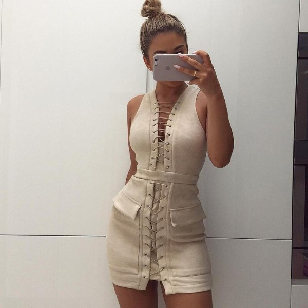 Sexy Bandage Dress Pocket Suede Dress Bodycon New Summer Dress
