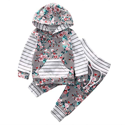 Baby Girl 2pcs Set Outfit Flower Print Hoodies