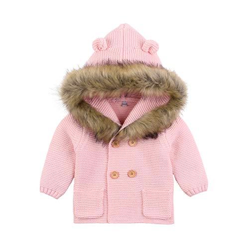Newborn Baby Girls Sweater Cardigan Pink Long Sleeve