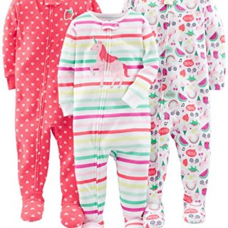 Simple Joys by Carter's Baby Girls' 3-Pack Snug-Fit Footed Cotton Pajamas