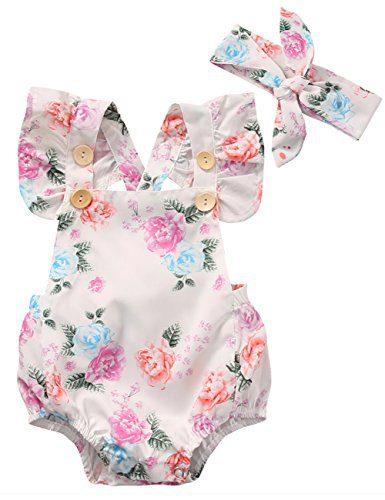 Canis Baby Girls' Full Flower Print Buttons Ruffles Romper Bodysuit