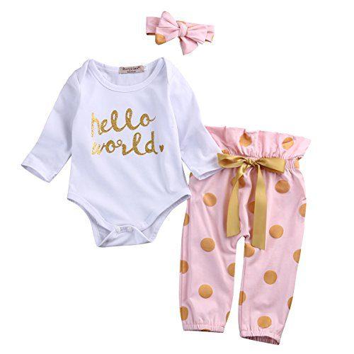 3Pcs Infant Newborn Baby Girls Hello World Romper