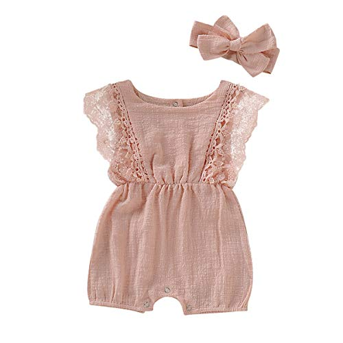 ZOELNIC Infant Girl Linen Romper Baby Girls Sleeveless Lace Jumpsuit